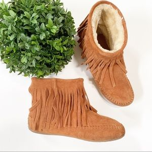 Lucky Brand Fringe Suede Leather Moccasin Boots